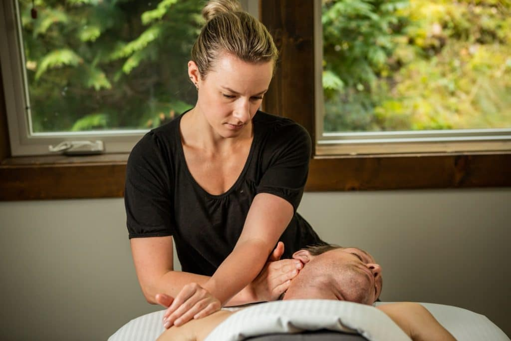 Amanda Massaging a client- Realignment Lab Whistler